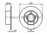 Тормозной диск  Диск тормозной AUDI A100 91>94/A6 95>05/VW PASSAT 97>05 задний  Диаметр [мм]: 245 Толщина тормозного диска (мм): 10 Минимальная толщина [мм]: 8 Тип тормозного диска: полный Диаметр ступицы колеса [мм]: 68 Число отверстий: 5 Вес [кг]: 3,6
