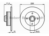 Тормозной диск  Диск тормозной VOLKSWAGEN GOLF2/3/PASSAT/VENTO 88>97 1.8/1.8GTi/2  Диаметр [мм]: 226 Толщина тормозного диска (мм): 10 Минимальная толщина [мм]: 8 Тип тормозного диска: полный Диаметр ступицы колеса [мм]: 39,88 Число отверстий: 4