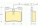 Комплект тормозных колодок, дисковый тормоз    ограничение производителя: ATE Датчик износа: вкл. датчик износа проверочное значение: E1 90R 01025/370 Высота [мм]: 57,55 Длина [мм]: 63,8 Толщина [мм]: 17