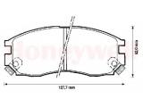 Комплект тормозных колодок, дисковый тормоз    Качество: 9251 Сторона установки: передний мост проверочное значение: ECE-R90 Ширина (мм): 127,7 Высота [мм]: 52 Толщина [мм]: 16 Датчик износа: вкл. датчик износа Тормозная система: Sumitomo