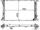 Радиатор, охлаждение двигател  Радиатор двигателя AUDI Q5 3.0 TDI 08-  Длина [мм]: 757 Ширина (мм): 474 Глубина [мм]: 36 Оснащение / оборудование: для транспортных средств с/без кондиционером Вид коробки передач: Автоматическая коробка передач Версия: produced by VISTEON