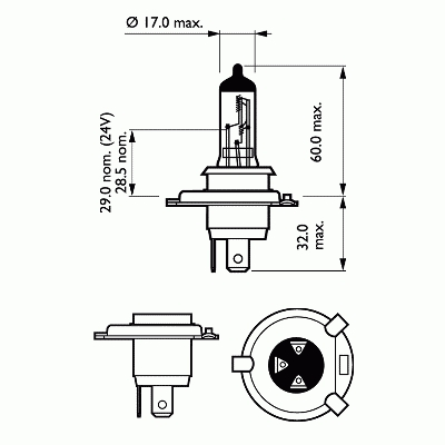 запчасти, Лампа H4 EcoVision 12V 60/55W P43t-38 (blister 1шт.)