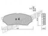 Комплект тормозных колодок, дисковый тормоз  Свеча зажигания BCPR5EY-11  Тормозная система: Akebono Ширина (мм): 123 Высота [мм]: 47,8 Толщина [мм]: 15,5 Датчик износа: с звуковым предупреждением износа проверочное значение: ECE R90 APPROVED