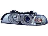 E39 Фара левая+правая (комплект) тюнинг со светящимися ободками (ангельские глазки) с хрустальным указатель поворота с рег.мотор внутри хром